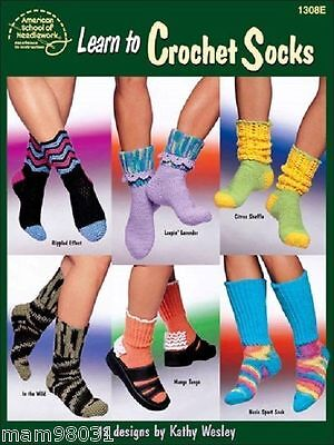 Crocheting Pattern Book LEARN To CROCHET SOCKS ~ 12 Designs