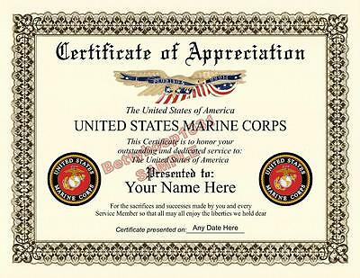 USMC Certificate of Appreciation **8.5 by 11 inches** Military MARINES USA Made