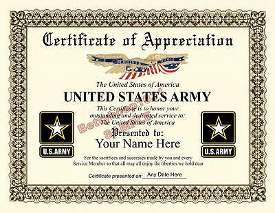 US ARMY Certificate of Appreciation **8.5 by 11 inches** Military - USA Made