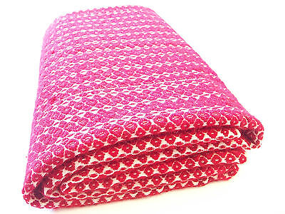 """Antique Wool & Cotton Blanket - Hand Loomed - 76"""" x 62"""" - Early 20th Century"""