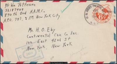 Iran 1944 (Jul) Censored WWII Air Mail Military Cover to New York USA