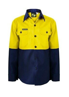 NEW Kids Hi Vis Work  Shirt Two Tone Long Sleeve Shirt Yellow/Navy 0 2 4 6 8 10