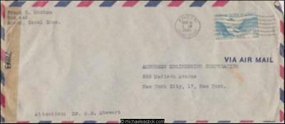 Panama 1945 (Mar) Censored Commercial Air Mail Cover to New York USA
