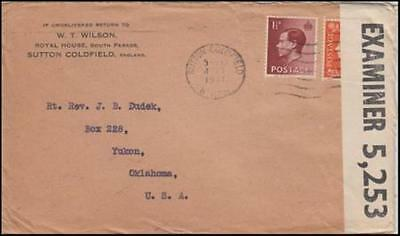 Great Britain 1941 (Oct) Censored Cover Sutton Coldfield to Yukon OK USA