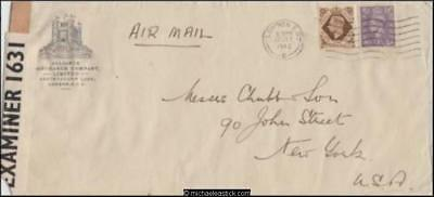 Great Britain 1942 (Jul) Censored Commercial Cover London to New York USA