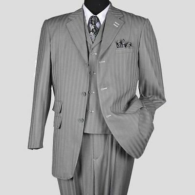 New Men's 3 piece Fortino Landi Elegant and Classic Stripes Suit 4 Colors  5267v