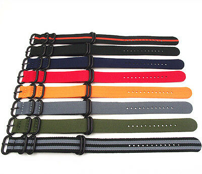 NATO G10 Military Nylon Strap Strong Watch Band (Black 5 Ring Buckle) 18-24 MM