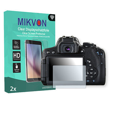 2x Mikvon Clear Screen Protector for Canon EOS 750D Retail Package + accessories