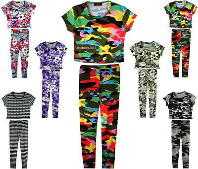 Girls Floral Camouflage Leggings And Crop Top T-Shirts Kids Age Size 7-13 Years