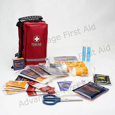 Travel and Outdoor First Aid Kit in a Compact Durable Red Bag