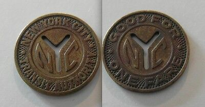 Small Collectable Railway New York City Transit Token - Good For One Fare - Nyc