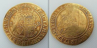 Collectable  James I Hammered Gold Unite Coin Dates to 1603-1625, Mint Mark Rose