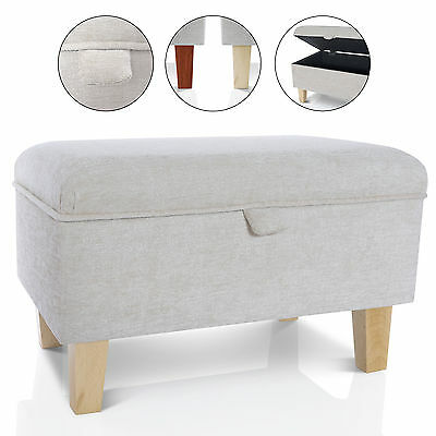 Storage Footstool Ottoman Blanket Box - Seat Pouffe Toy Box Large Small