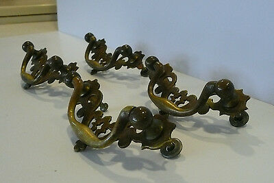 4  Vintage Chippendale Pierced Brass Bail Pull Furniture Hardware Dresser Pull