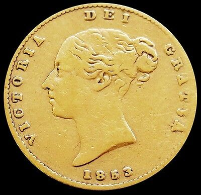 1853 Double Date Gold Great Britain 1/2 Sovereign Shield Reverse Coin
