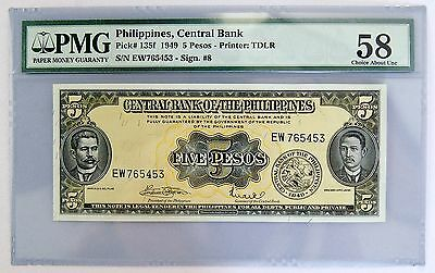 1949 5 Pesos Philippines (PMG 58 Choice About Unc) Pick# 135F Currency (1686)