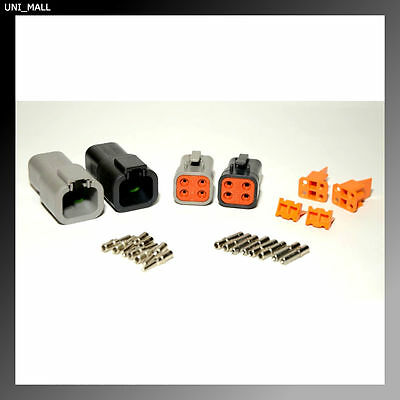 Deutsch DTP 4 Pin Black & Gray Connector Kit, 12-14 AWG Solid Contacts