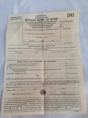 Vintage 1941 Form 1040 A Individual Income Tax Return Form