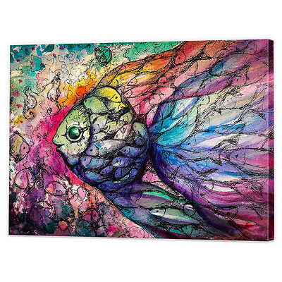 Watercolour Fish Canvas Art Print | Framed Ready to Hang Tropical Wall Prints
