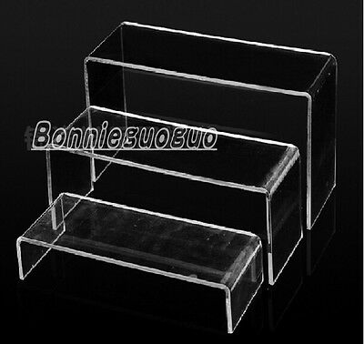 NEW 3 Teir Clear Acrylic Display Stand Plinth Risers~worldwide free shipping