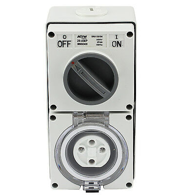 Switched Socket Outlet Cobination 20 Amp 500V 4 Round Pin Ip66 S.s.o