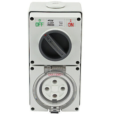 Switched Socket Outlet Cobination 40 Amp 500V 4 Round Pin Ip66 S.s.o
