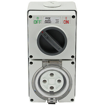 Switched Socket Outlet Cobination 50 Amp 500V 4 Round Pin Ip66 S.s.o