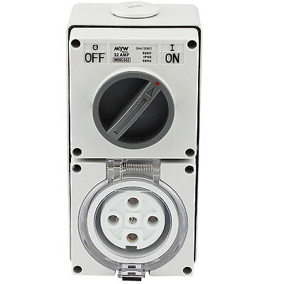Switched Socket Outlet Cobination 32 Amp 500V 5 Round Pin Ip66 S.s.o