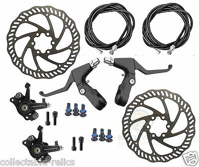 Disc Brake Calipers Lever Cable Rotor Set Mechanical Front Rear Pair MTB Bicycle