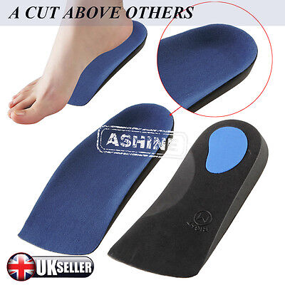 UK 3/4 Orthotic Insoles Arch Support Heel Cup- Pronation Fallen Arches Flat Feet
