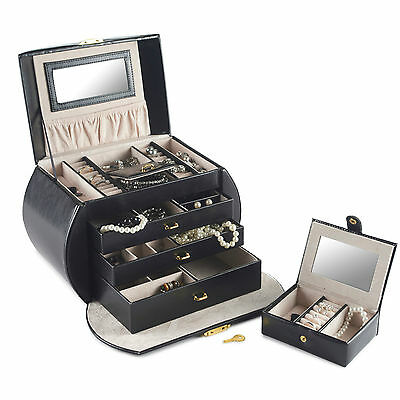 Beautify Jewellery Box Black Faux Leather Traditional Lock Jewelry Case Display