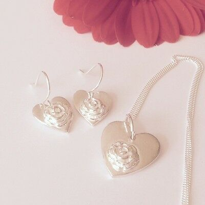 Silver Hearts and Flowers Necklace and Earrings Set