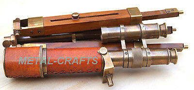 Brass Telescope Leather Wrap Double Barrel With Tripod Victorian Antique Gifts