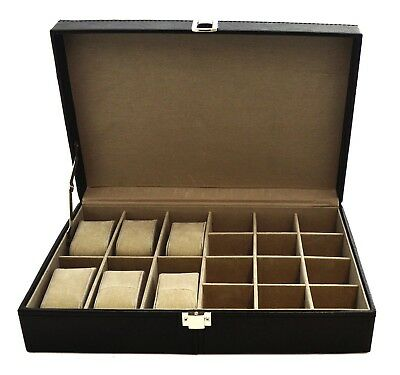 Gents Black Faux Leather 18 Compartment 6 Watch Cufflink & Ring Box Storage Case