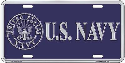 """U.S. Navy Blue and Silver Emblem Seal 6""""x12"""" Aluminum License Plate made in USA"""