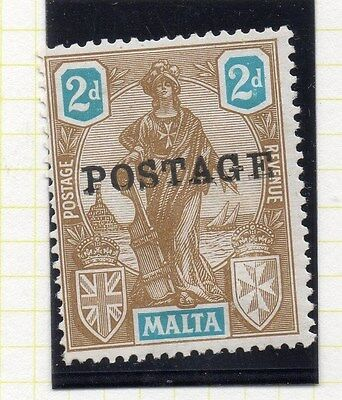 Malta 1926 Early Issue Fine Mint Hinged 2d. Optd Postage 043791