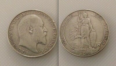 Nice Collectable silver 1907  King Edward VII Florin/Two Shilling coin