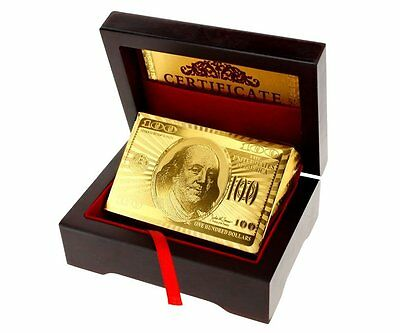 24k Gold Plated Playing Cards Full Poker Deck 99.9% Pure Wooden Gift