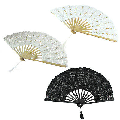 CF503 Handmade Cotton Lace Folding Hand Fan for Party Bridal Wedding Decoration