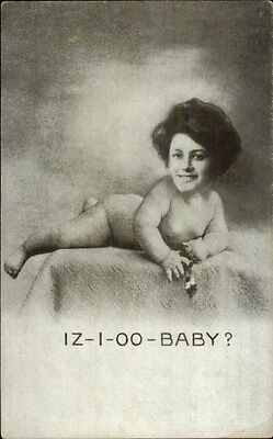 Creepy Risque - Pretty Woman's Face on Naked Baby Body IZ-I-OO-BABY? Postcard