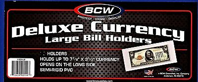 3- LARGE BCW DELUXE CURRENCY MONEY SLEEVE BILL PAPER NOTE  HOLDERS SEMI RIGIDi
