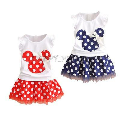 2pcs Baby Girl Dress Cute Minnie Mouse Dresses Toddler Kids Top Skirt Outfit Set