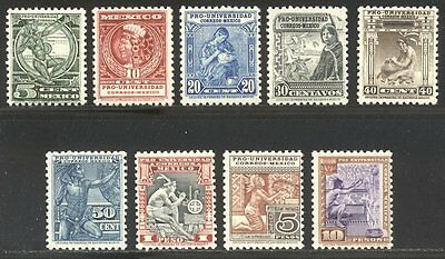 MEXICO #698-706 SCARCE Mint - 1934 University Set