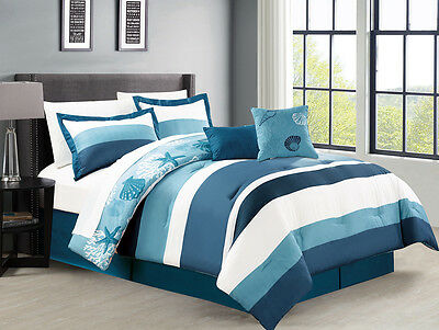 10 Piece Moala Blue/White Reversible Bed in a Bag Set