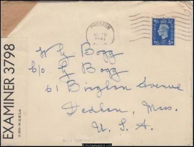 Great Britain 1941 (Dec) Censored Cover & Christmas Card to Dedham MA USA