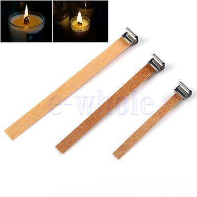 10Pcs Wooden Wick Candle Core With Sustainer Tabs For Candle Making 3 Sizes EW