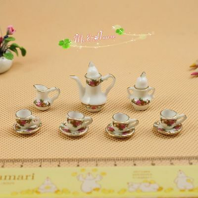 Dollhouse Miniature 1:12  Porcelaine flowers Pink English tea sets 13 pcs