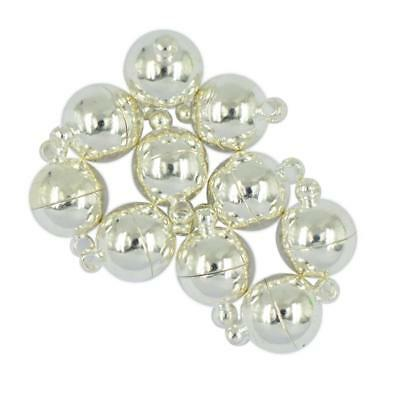 10 Sets Silver Round Magnetic Clasps 10mm For Necklace DIY Jewelry Fasteners