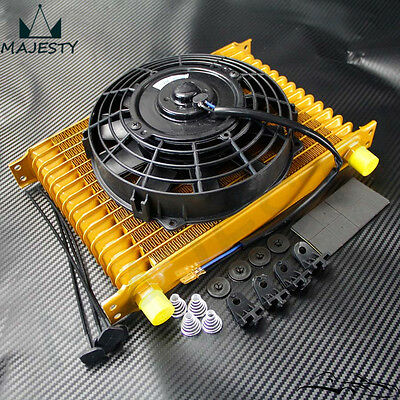 """AN10 15 Row Engine Oil Cooler + 7"""" Electric Fan kit Universal Fit"""