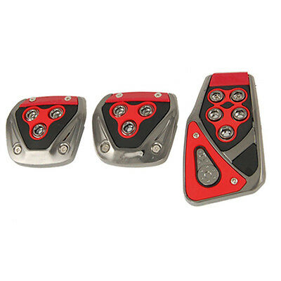 New Durable Practical Red Black Nonslip Pedal Pad Cover 3 Pcs for MT Auto Car PK